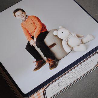 Blikken dozen met foto of opdruk, gevuld met lekkers of ongevuld